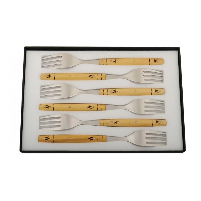 Coffret de 6 fourchettes, manche en buis pyrogravé